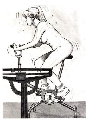 Nøgen kvinde på kondicykel