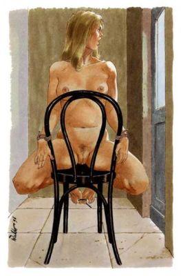 Venter på Ham, bundet nøgen på en stol
